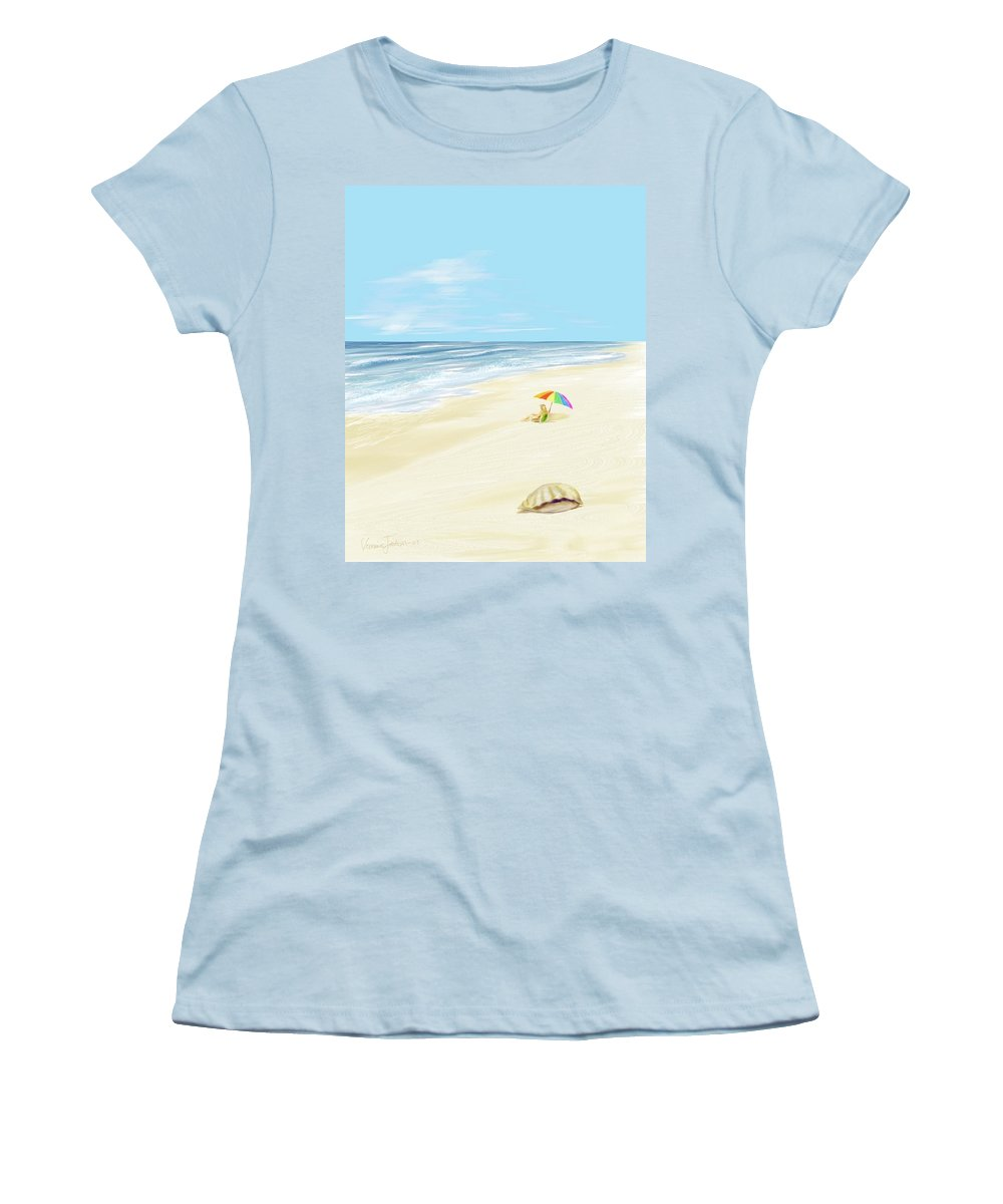 Beach Summer Sun Sand Waves Shells Women's T-Shirt (Athletic Fit) featuring the digital art Day At The Beach by Veronica Jackson