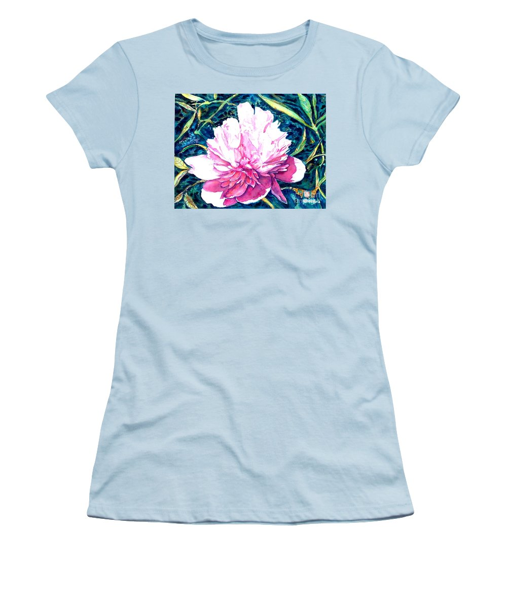 Peony Women's T-Shirt (Athletic Fit) featuring the painting Delightful Peony by Norma Boeckler