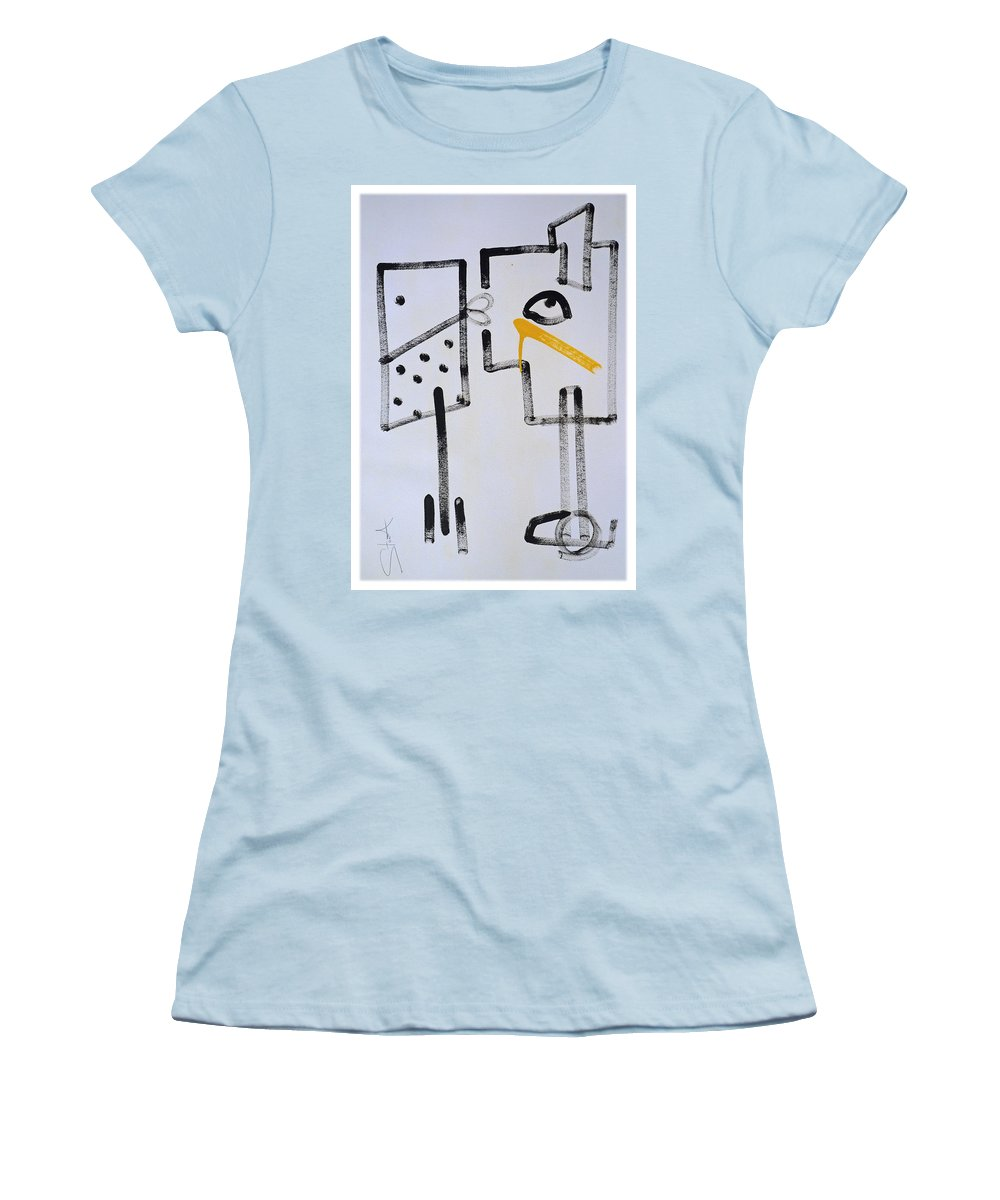 Drawing Women's T-Shirt (Athletic Fit) featuring the painting Desperados Waiting For A Train by Charles Stuart