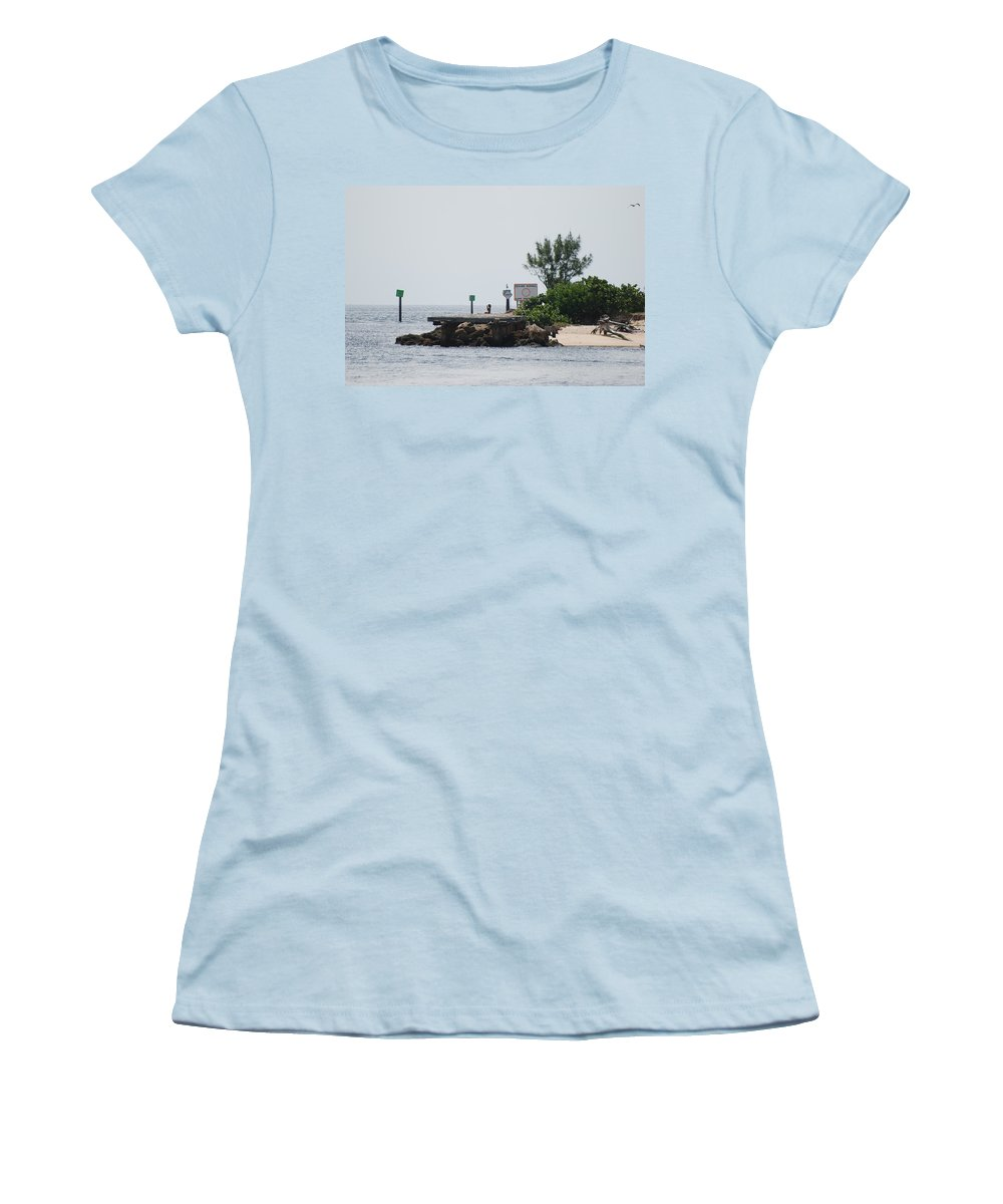Sky Women's T-Shirt (Athletic Fit) featuring the photograph Dock Girl by Rob Hans