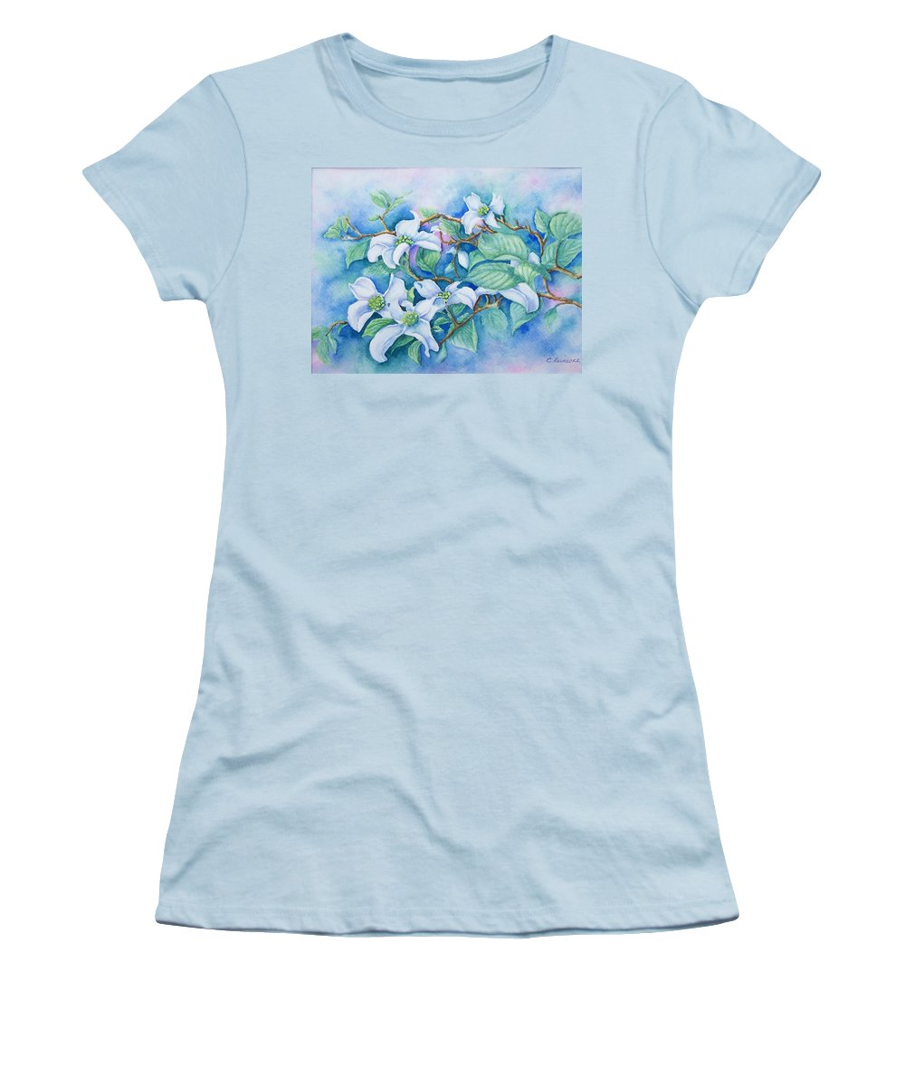 Floral Women's T-Shirt (Athletic Fit) featuring the painting Dogwood by Conni Reinecke