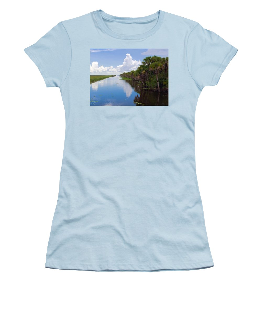 Florida; Water; Canal; Stick; Marsh; Drowned; Trees; Drown; Fellsmere; Sebastian; River; Indian; Clo Women's T-Shirt (Athletic Fit) featuring the photograph Drainage Canals Make Farming Possible In Florida by Allan Hughes