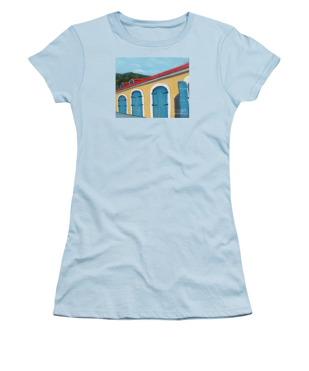 Doors Women's T-Shirt (Athletic Fit) featuring the painting Dutch Doors Of St. Thomas by Laurie Morgan