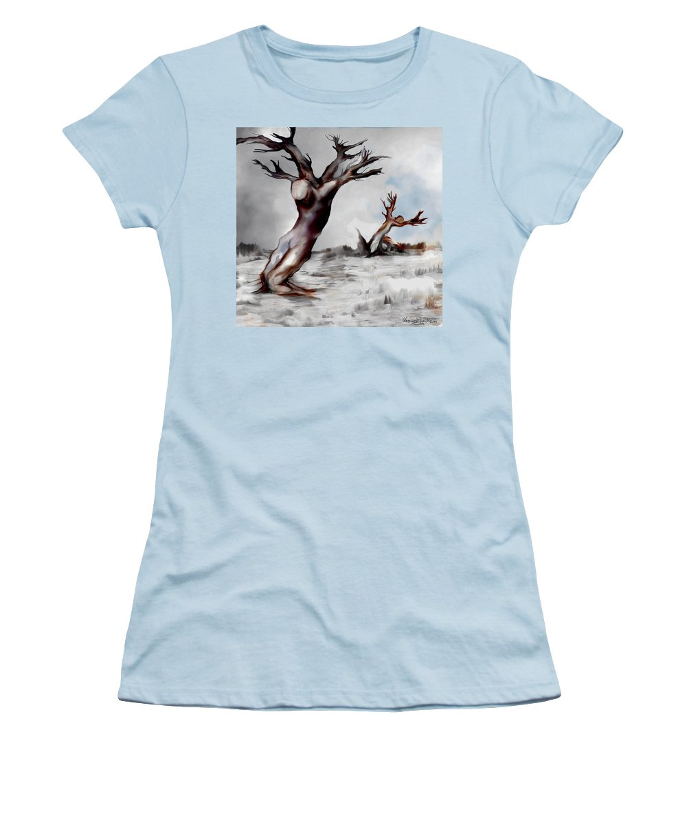 Trees Soul Nature Sky Storm Freedom Women's T-Shirt (Athletic Fit) featuring the mixed media Earthbound by Veronica Jackson