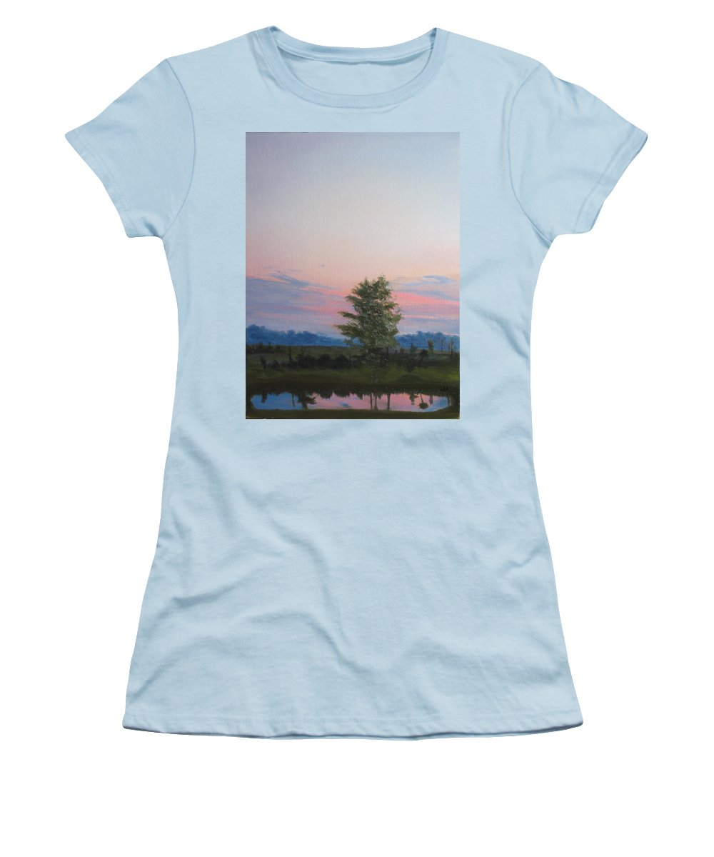 Landscape Women's T-Shirt (Athletic Fit) featuring the painting Evening Sky by Lea Novak