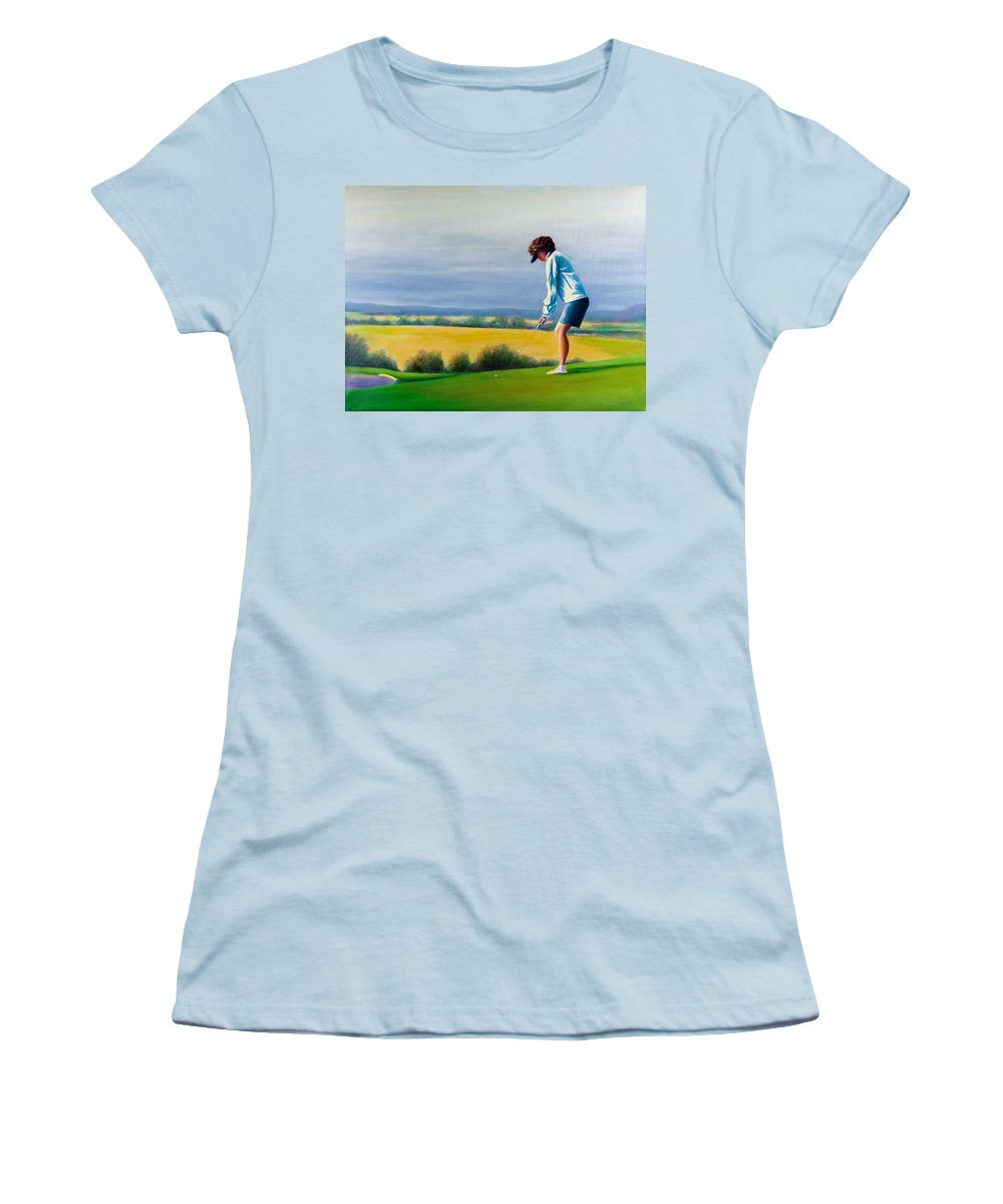 Golfer Women's T-Shirt (Athletic Fit) featuring the painting Fairy Golf Mother by Shannon Grissom