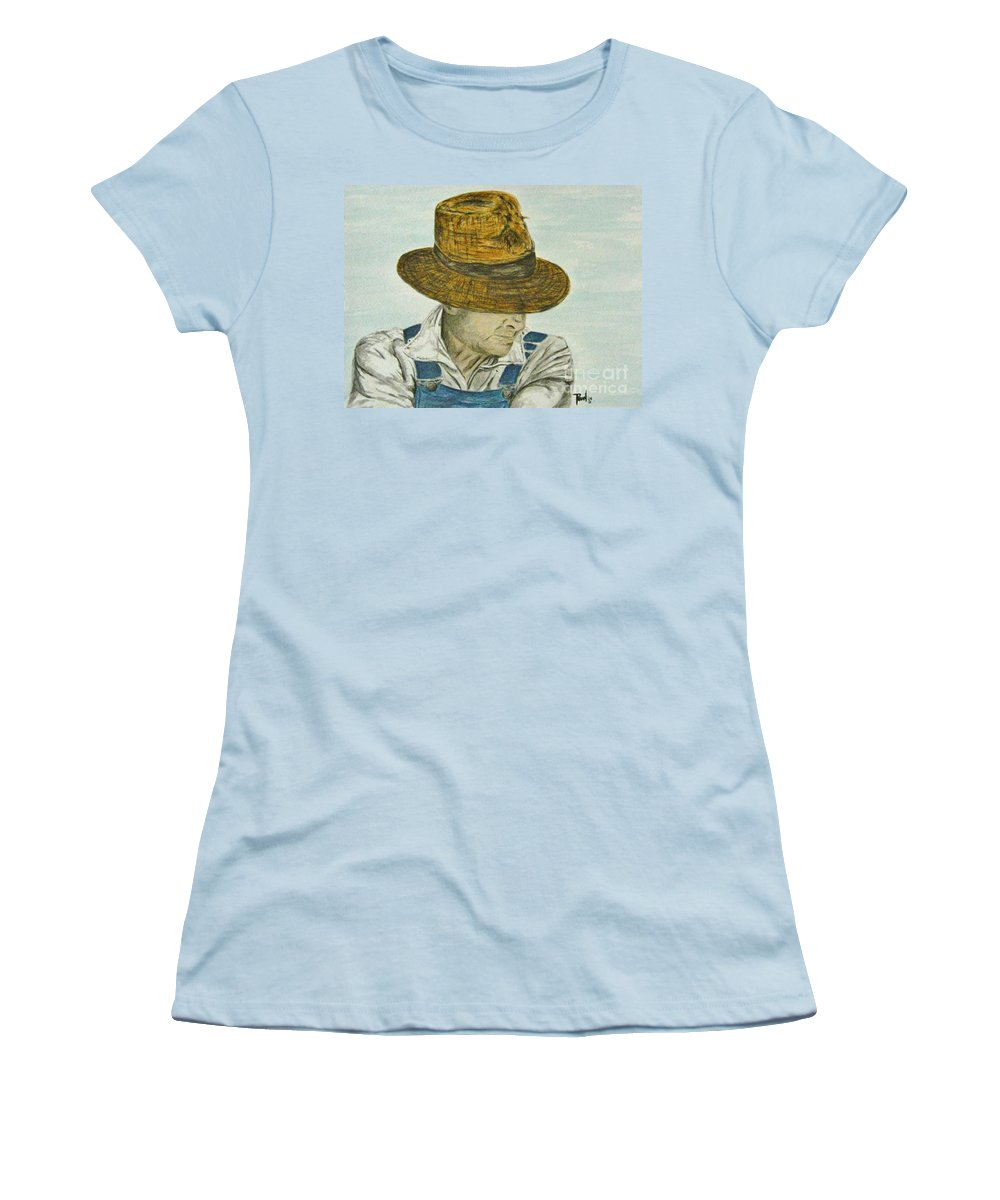 Portrait Women's T-Shirt (Athletic Fit) featuring the painting Farmer Ted by Regan J Smith