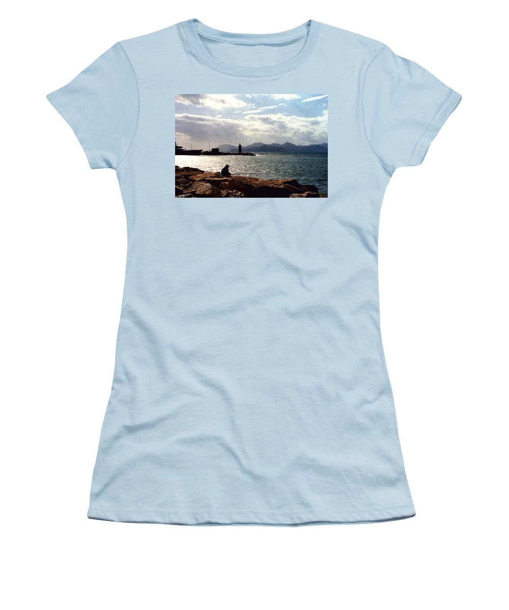 Fisherman Women's T-Shirt (Athletic Fit) featuring the photograph Fisherman In Nice France by Nancy Mueller