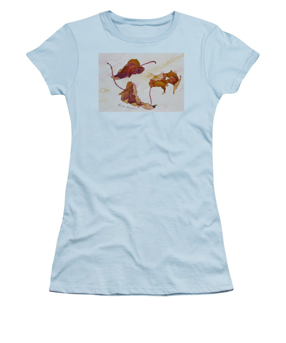 Fall Women's T-Shirt (Athletic Fit) featuring the painting Floating by Ruth Kamenev