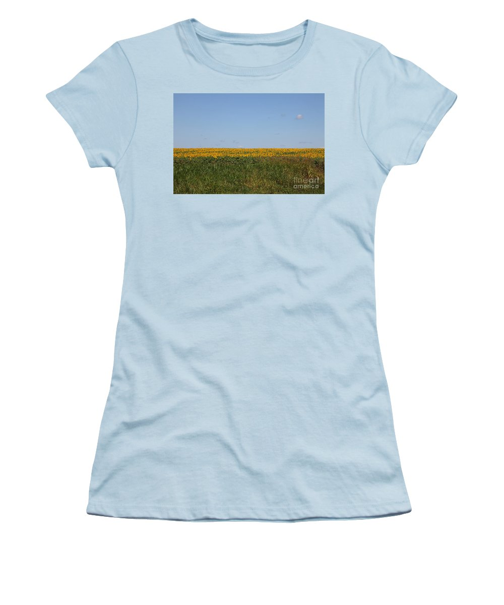 Sunflowers Women's T-Shirt (Athletic Fit) featuring the photograph Floral Blur by Amanda Barcon