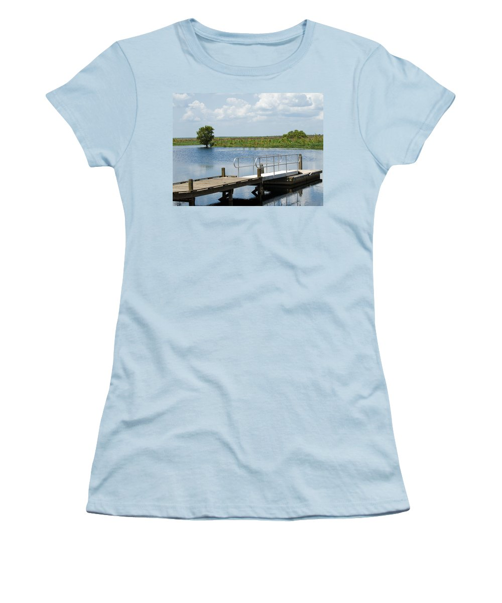 Florida; River; St; Johns; Saint; John; Flow; Flows; North; South;direction; Flowing; Current; Backw Women's T-Shirt (Athletic Fit) featuring the photograph Florida Backwater by Allan Hughes