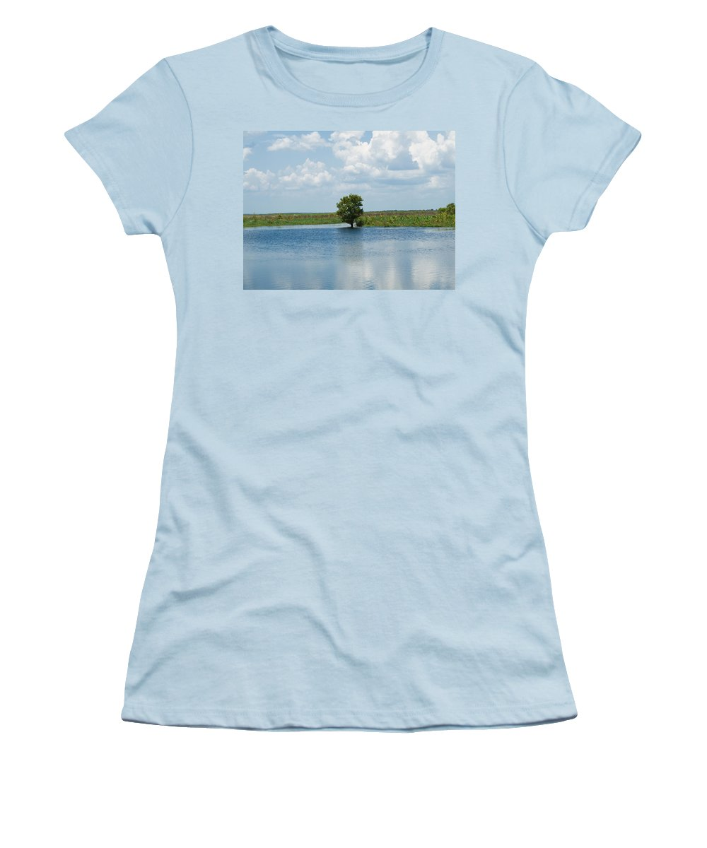 Florida; River; St; Johns; Saint; John; Flow; Flows; North; South Direction; Flowing; Current; Backw Women's T-Shirt (Athletic Fit) featuring the photograph Florida River Backwater by Allan Hughes