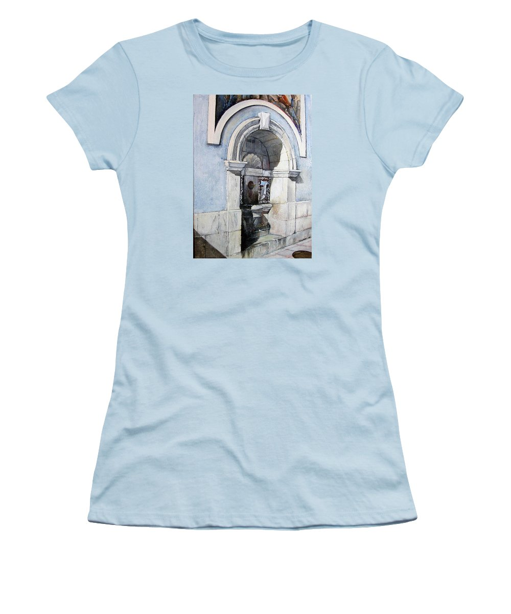 Fuente Women's T-Shirt (Junior Cut) featuring the painting Fuente Castro Urdiales by Tomas Castano