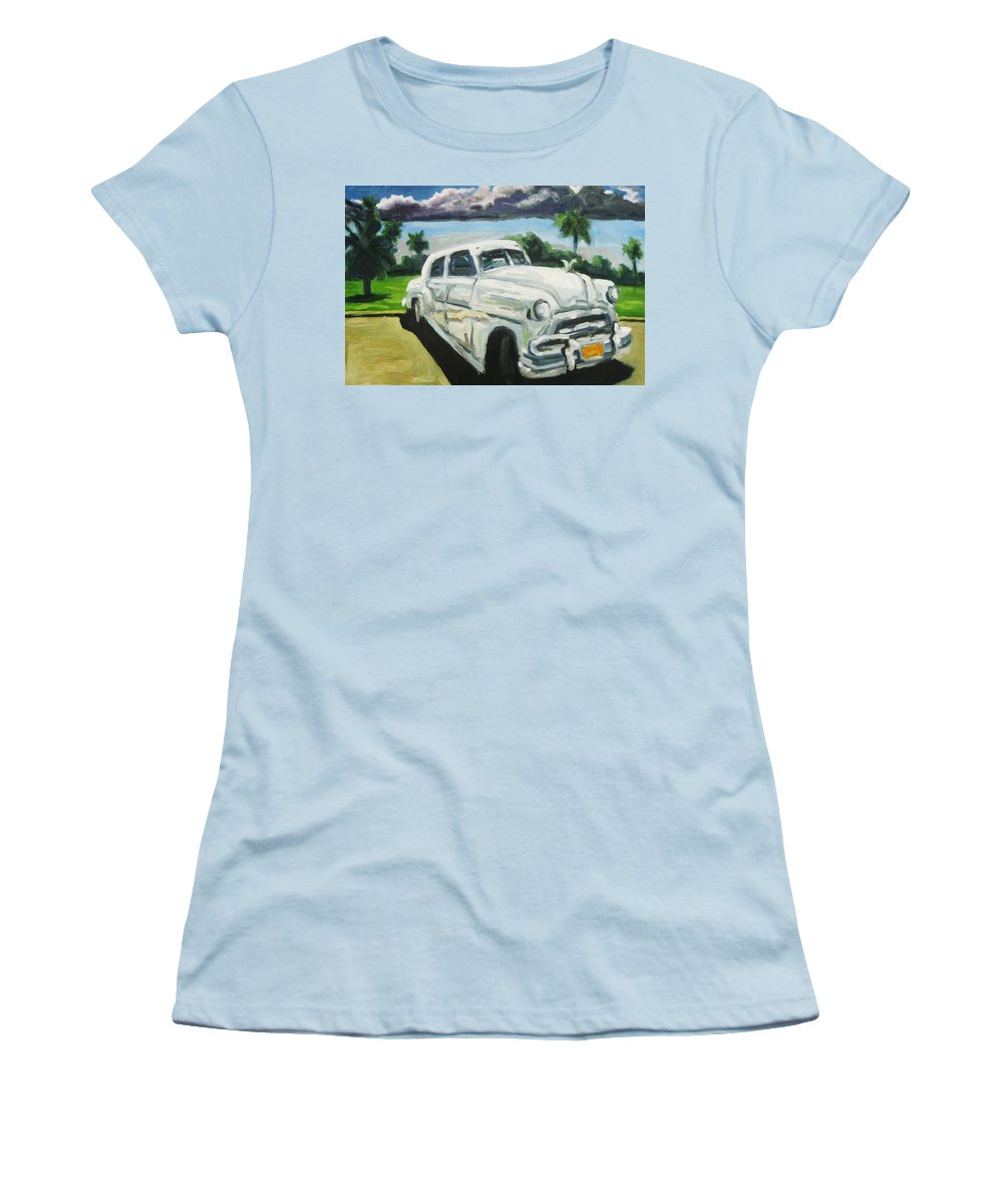 Old Cars Women's T-Shirt (Athletic Fit) featuring the painting Gangsters On Vacation by John Malone