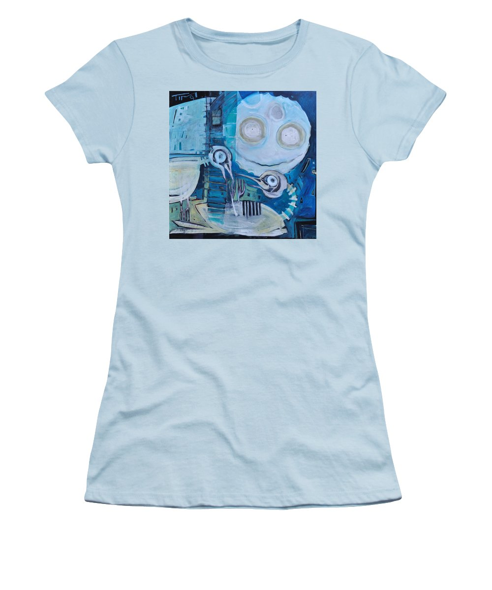 Bird Women's T-Shirt (Athletic Fit) featuring the painting Ghost Birds At Play by Tim Nyberg
