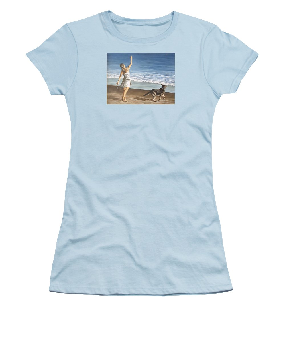 Portrait Girl Beach Dog Seascape Sea Children Figure Figurative Women's T-Shirt (Athletic Fit) featuring the painting Girl And Dog by Natalia Tejera
