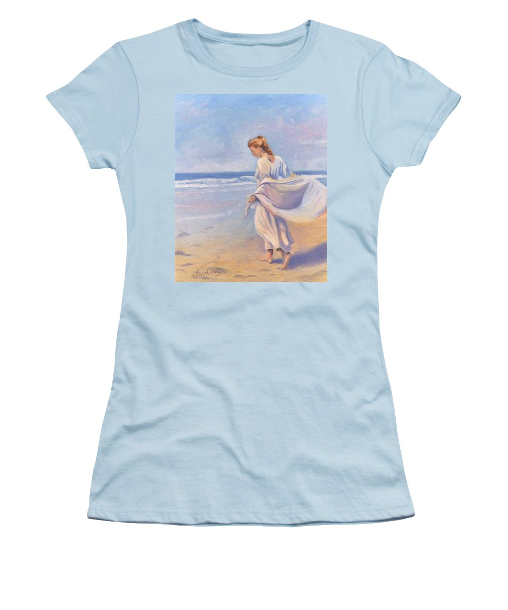 Beach Women's T-Shirt (Athletic Fit) featuring the painting Golden Girls by Jay Johnson