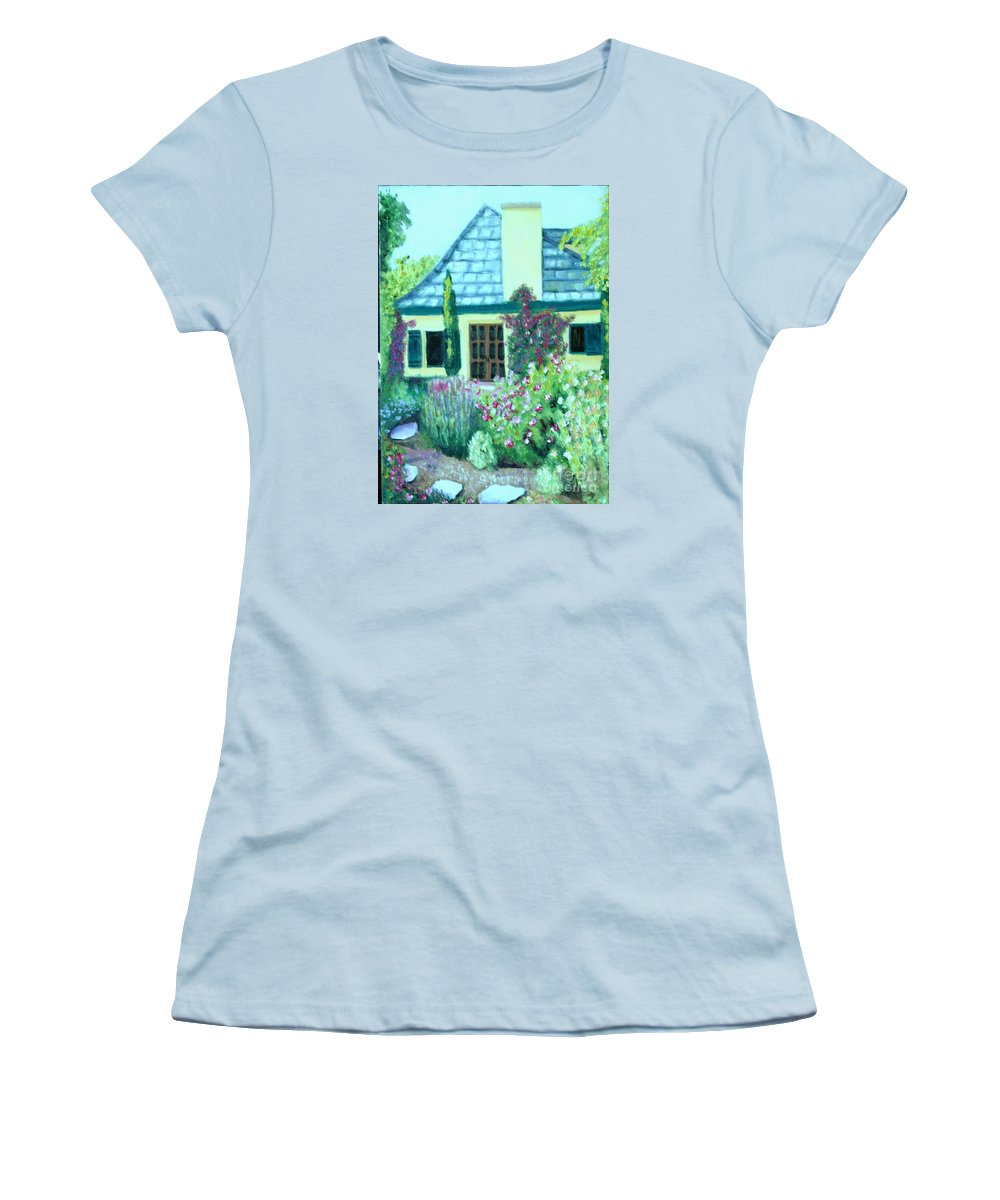 Cottage Women's T-Shirt (Athletic Fit) featuring the painting Guest Cottage by Laurie Morgan
