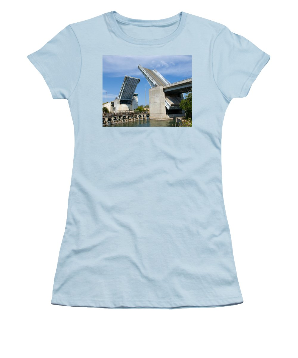 Haulover; Haul; Over; Canal; Waterway; Florida; Drawbridge; Draw; Bridge; Open; Swing; Scene; Scener Women's T-Shirt (Athletic Fit) featuring the photograph Hauover Canal In Florida by Allan Hughes