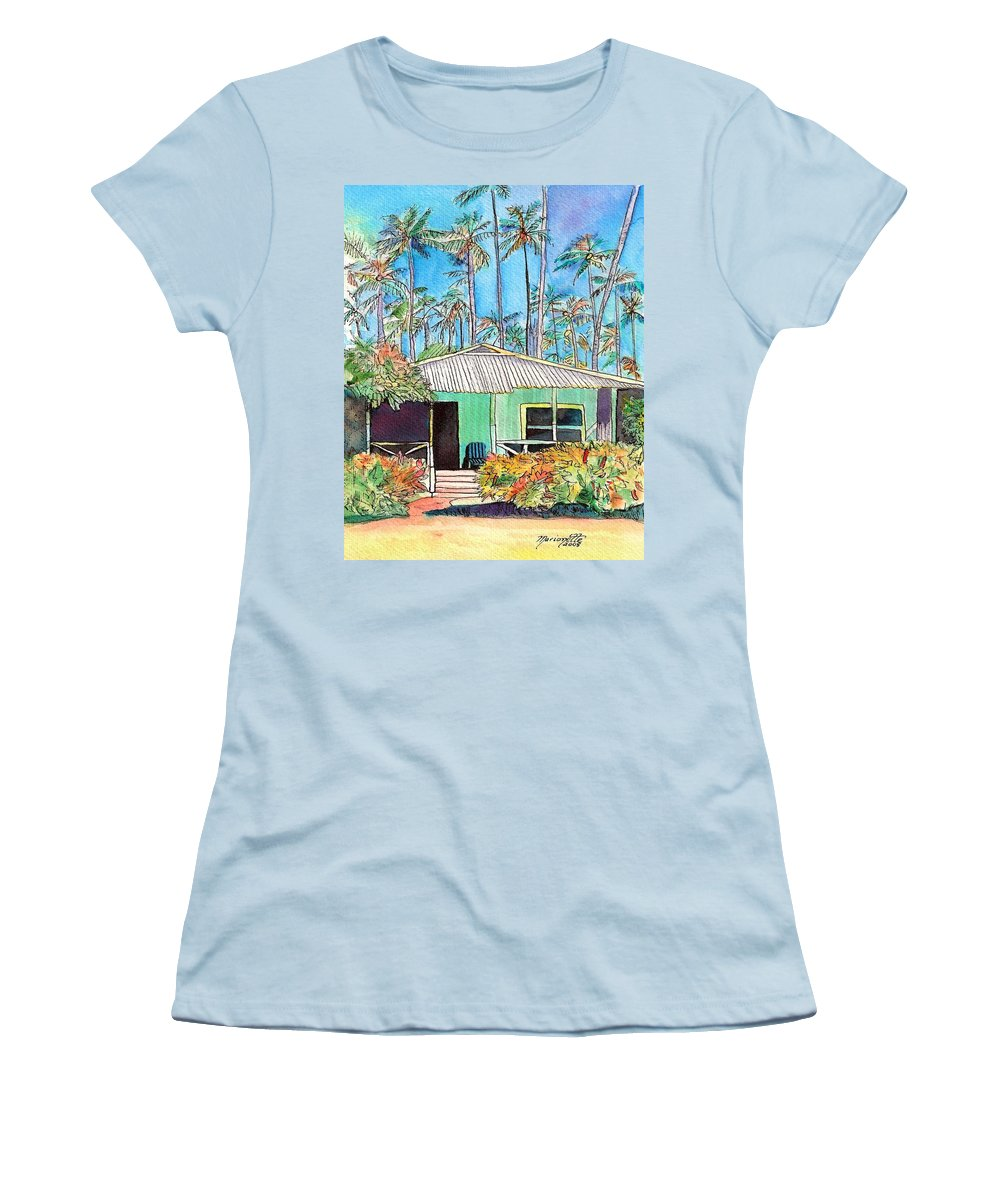 Cottage Women's T-Shirt (Athletic Fit) featuring the painting Hawaiian Cottage I by Marionette Taboniar