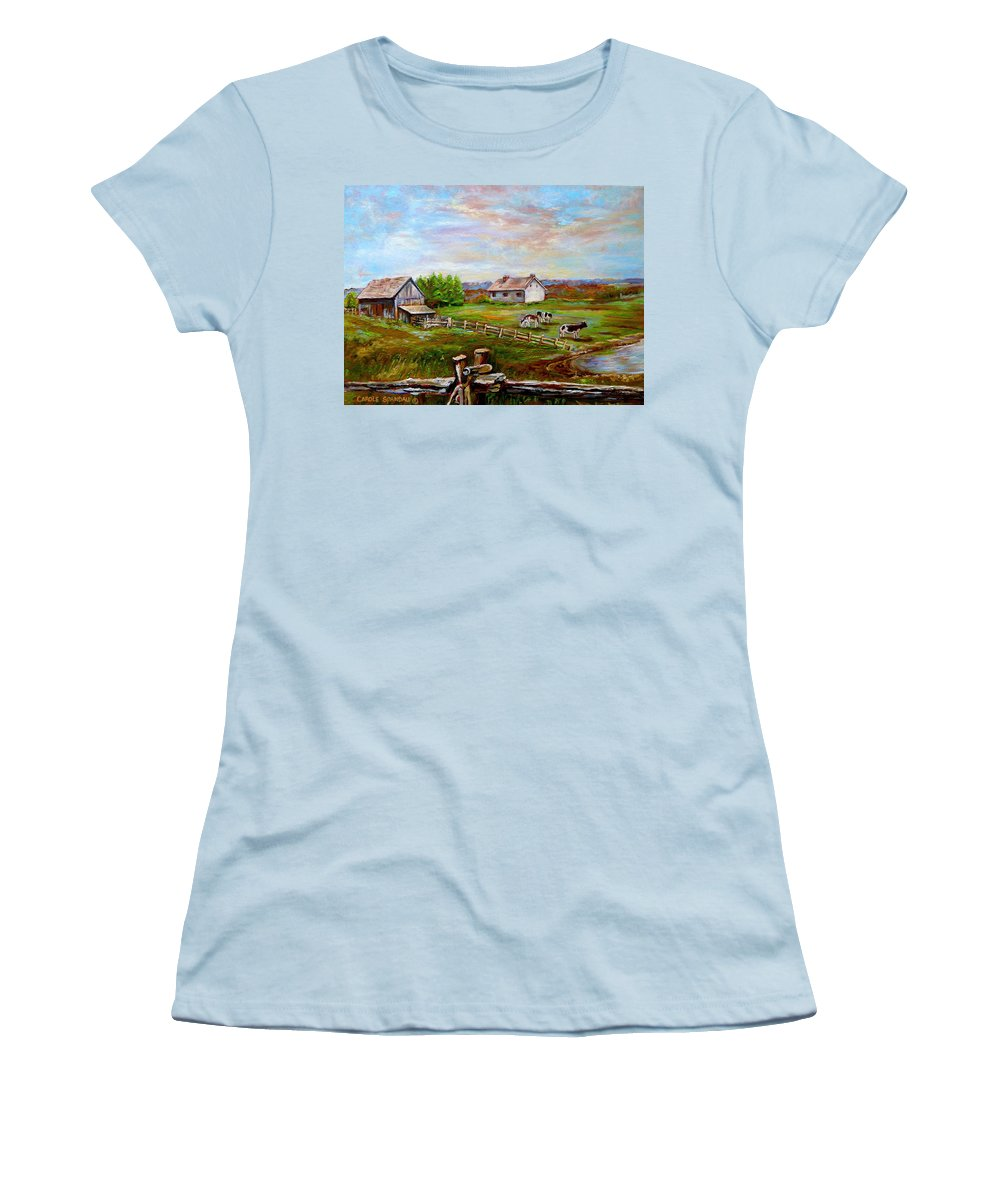 Ile D'orleans Women's T-Shirt (Athletic Fit) featuring the painting Heaven On Earth by Carole Spandau