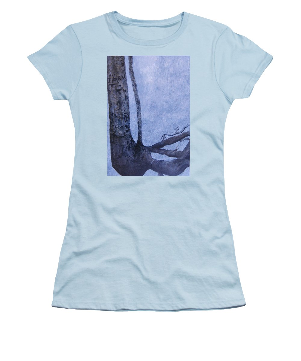 Tree Trunk Women's T-Shirt (Athletic Fit) featuring the painting Hedden Park II by Leah Tomaino