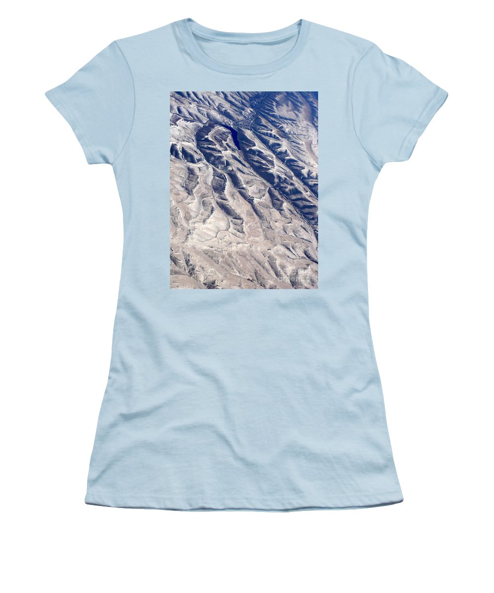 Aerial Women's T-Shirt (Athletic Fit) featuring the photograph Hills And Valleys Aerial by Carol Groenen