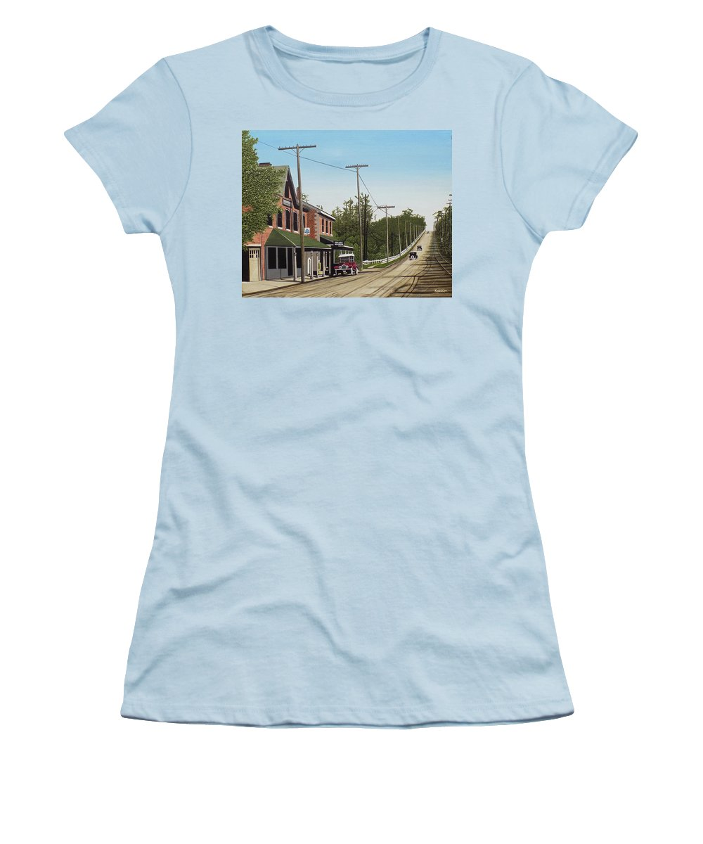 Streetscapes Women's T-Shirt (Athletic Fit) featuring the painting Hoggs Hollow Toronto 1920 by Kenneth M Kirsch