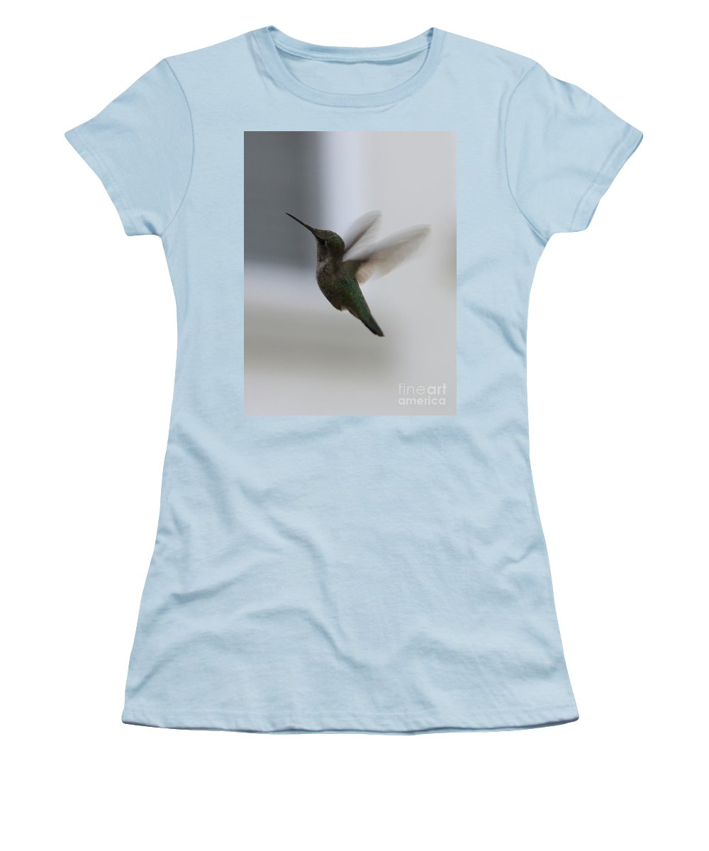 Hummingbird Women's T-Shirt (Athletic Fit) featuring the photograph Hummingbird In Flight by Carol Groenen