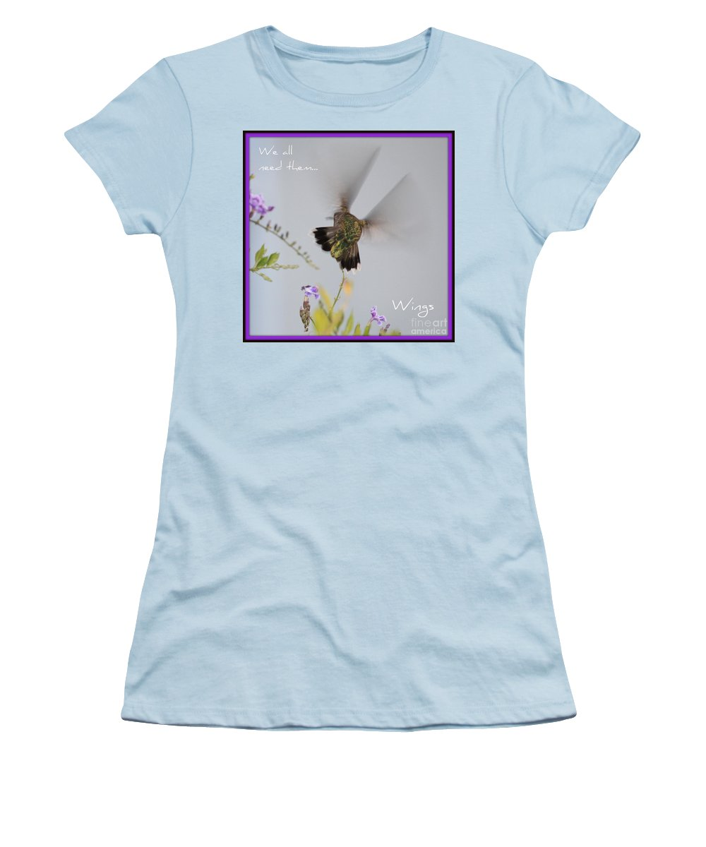 Digital Art Women's T-Shirt (Athletic Fit) featuring the photograph Hummingbird Wings by Carol Groenen