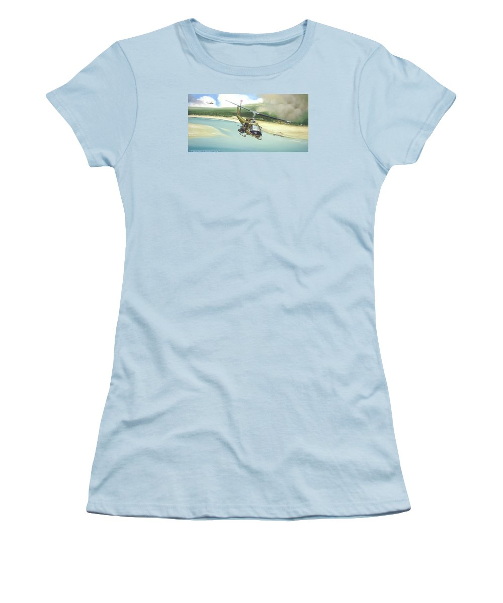Military Women's T-Shirt (Junior Cut) featuring the painting Hunter Hueys by Marc Stewart