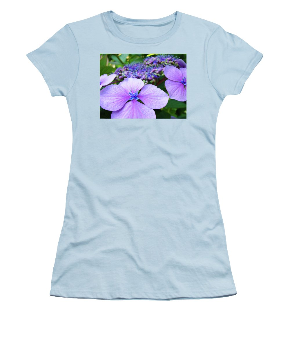 Hydrangea Women's T-Shirt (Athletic Fit) featuring the photograph Hydrangea Flowers Art Prints Hydrangea Garden Giclee Art Prints Baslee Troutman by Baslee Troutman