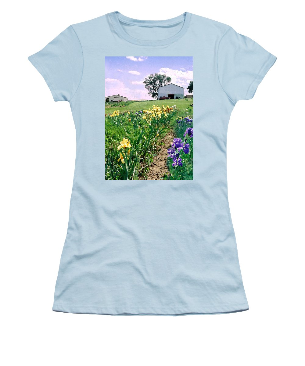 Landscape Painting Women's T-Shirt (Athletic Fit) featuring the photograph Iris Farm by Steve Karol