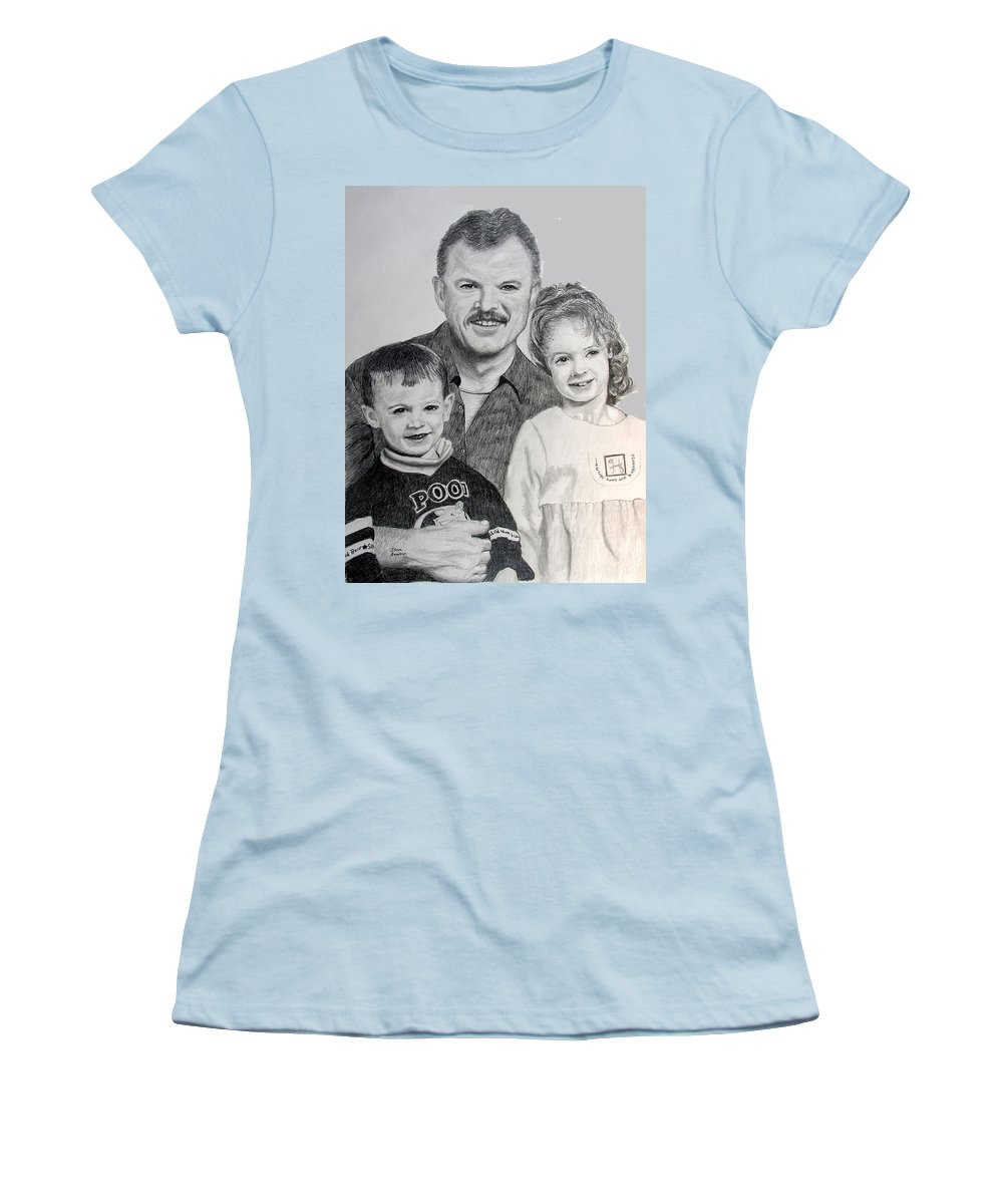Portrait Women's T-Shirt (Athletic Fit) featuring the drawing John Megan And Joey by Stan Hamilton