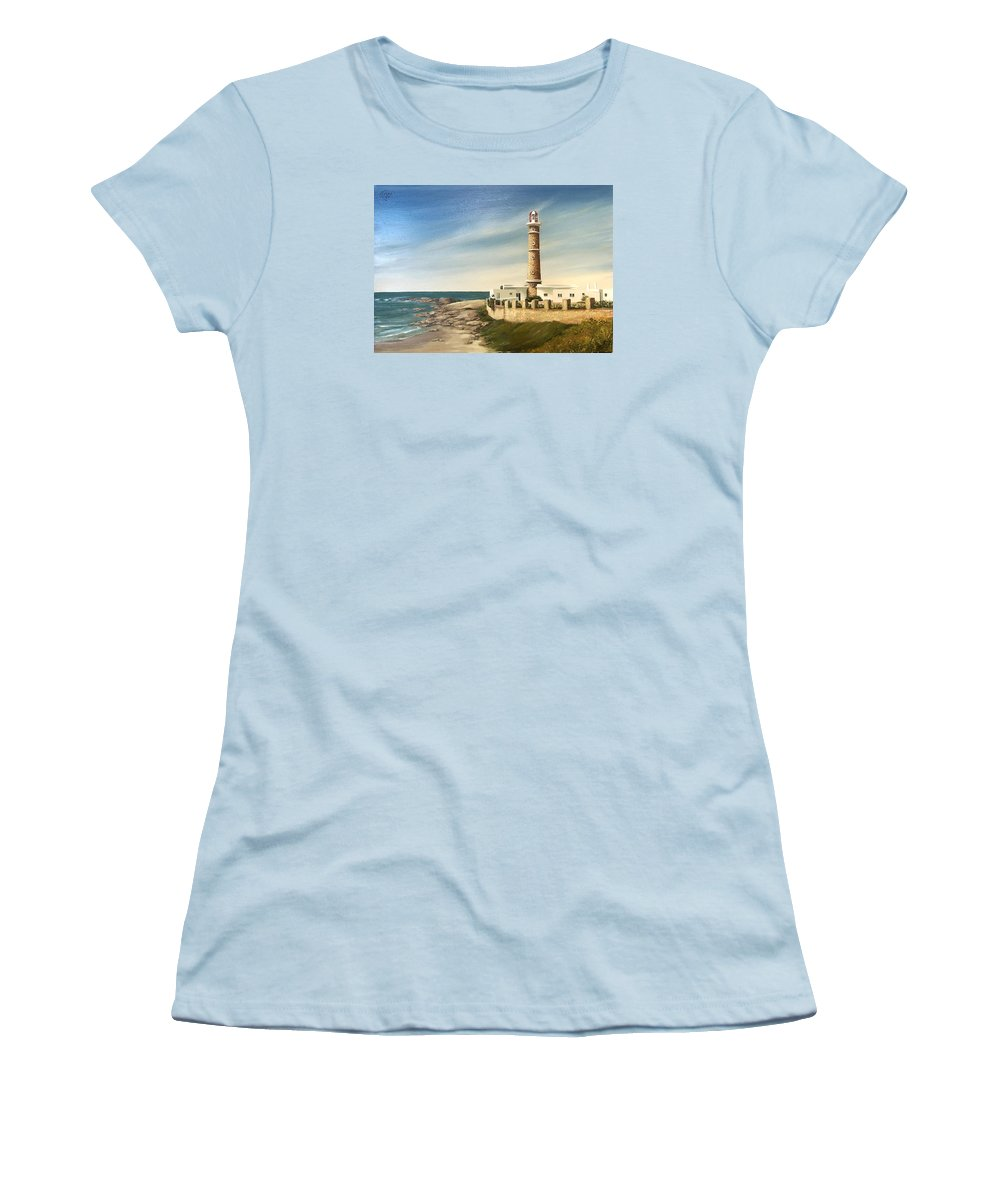 Landscape Seascape Lighthouse Uruguay Beach Sea Water Women's T-Shirt (Athletic Fit) featuring the painting Jose Ignacio Lighthouse Evening by Natalia Tejera
