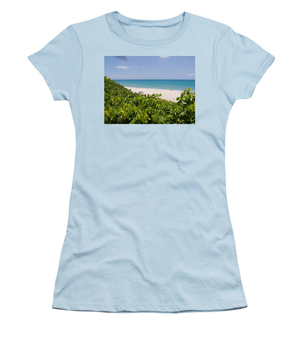 Juno; Florida; Loxahatchee; River; Jupiter; Inlet; Swim; Swimming; Children; Girl; Boy; Woman; Man; Women's T-Shirt (Athletic Fit) featuring the photograph Juno Beach In Florida by Allan Hughes