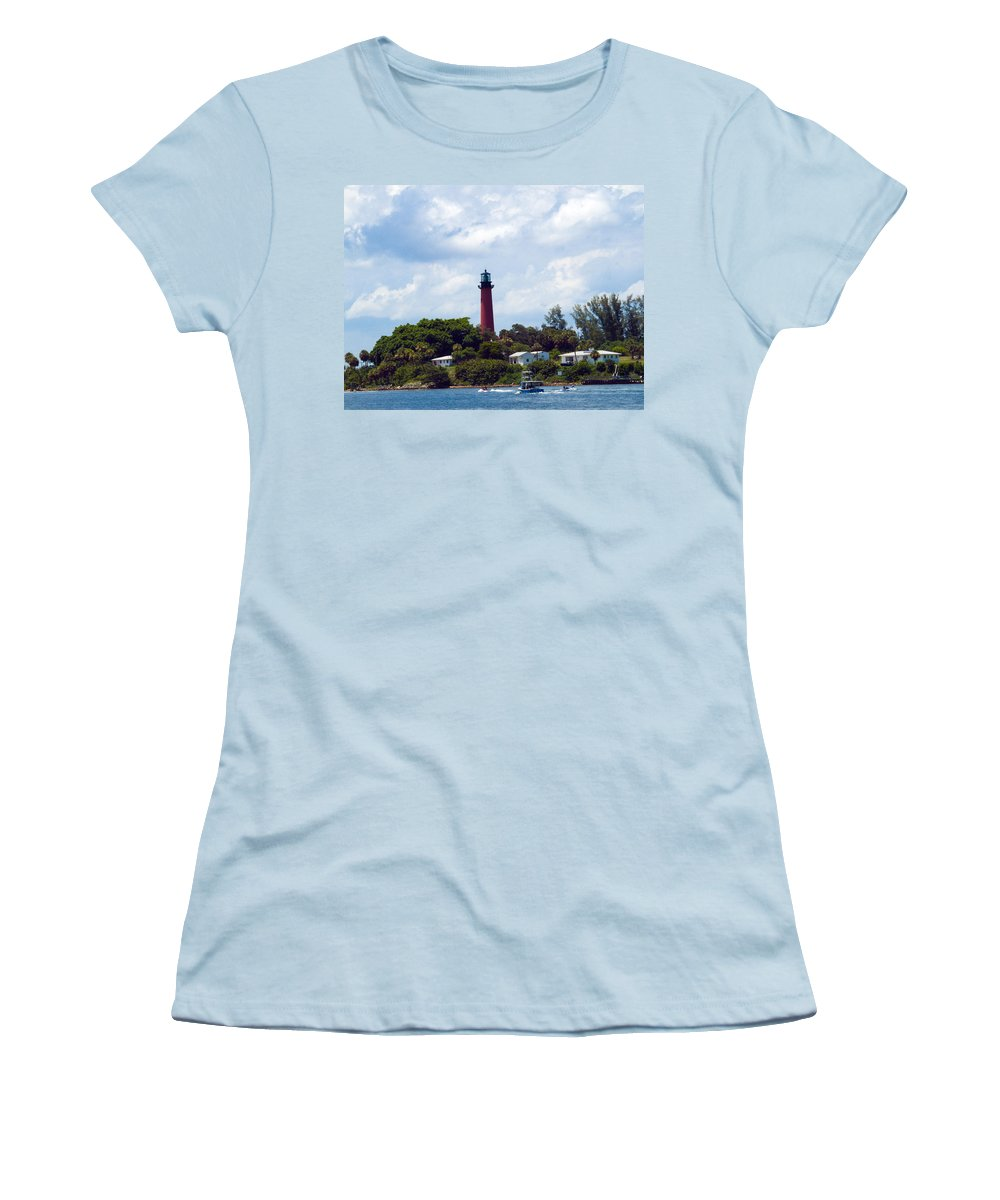 Florida; Juptier; Inlet; Loxahatchee; River; Atlantic; Coast; Shore; Beach; Light; Lighthouse; Beaco Women's T-Shirt (Athletic Fit) featuring the photograph Jupiter Inlet Florida by Allan Hughes