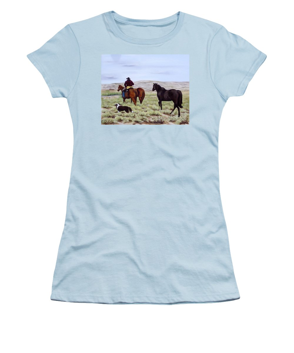 Art Women's T-Shirt (Athletic Fit) featuring the painting Just Might Rain by Mary Rogers