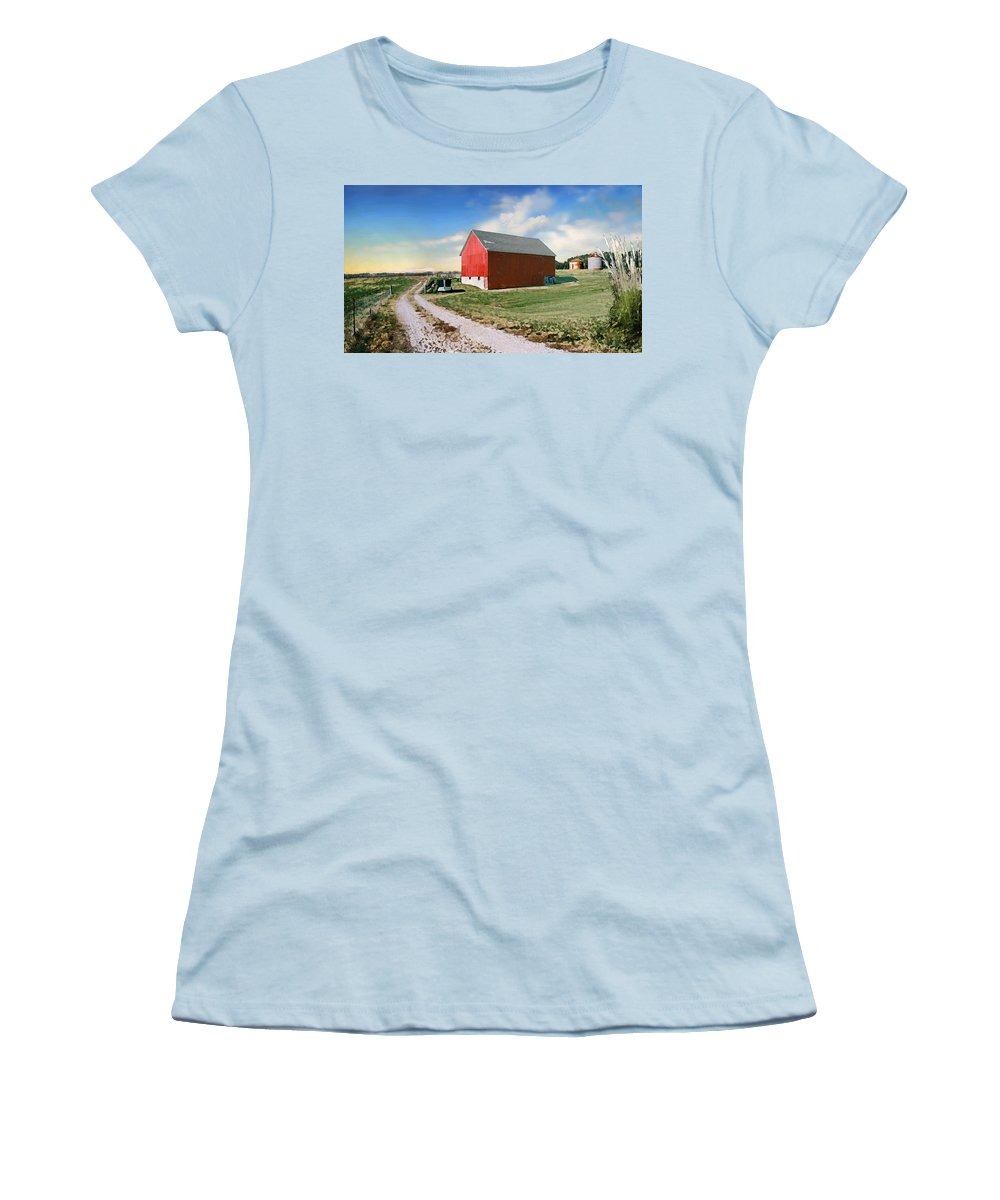 Barn Women's T-Shirt (Athletic Fit) featuring the photograph Kansas Landscape II by Steve Karol