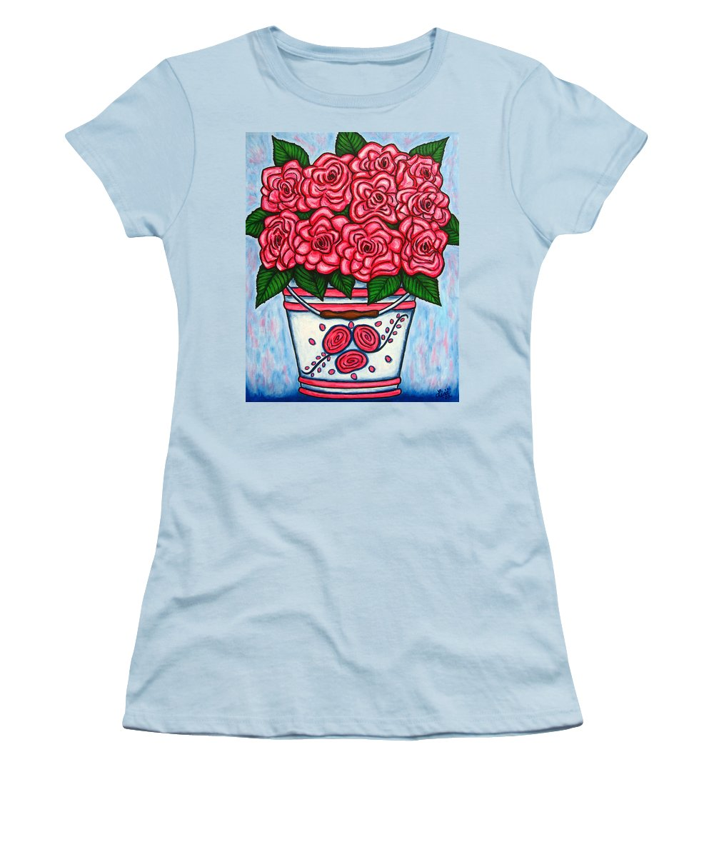 Rose Women's T-Shirt (Athletic Fit) featuring the painting La Vie En Rose by Lisa Lorenz