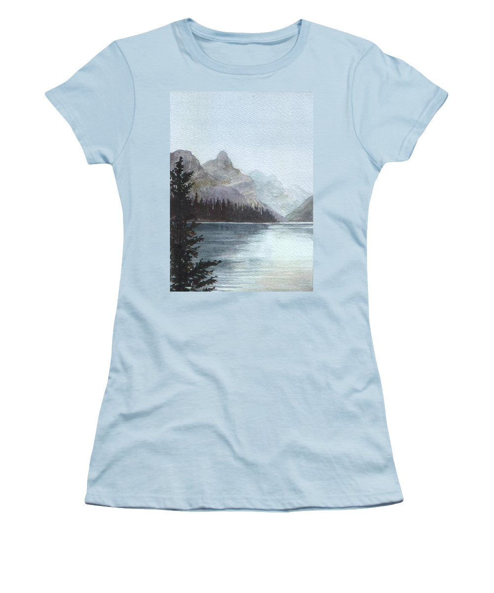 Watercolor Women's T-Shirt (Athletic Fit) featuring the painting Lake Helevorn by Brenda Owen
