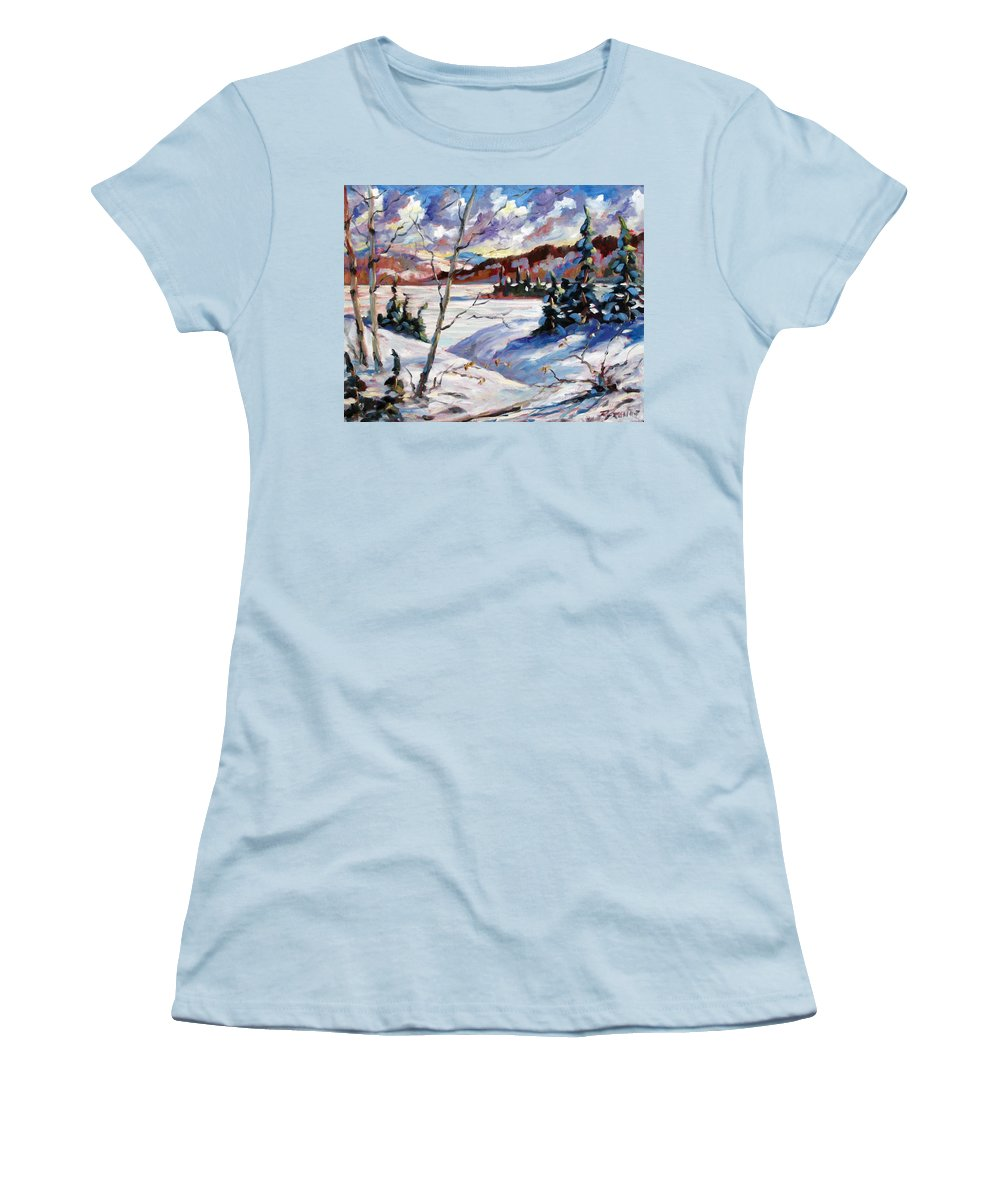 Lake Women's T-Shirt (Athletic Fit) featuring the painting Lake In Winter by Richard T Pranke