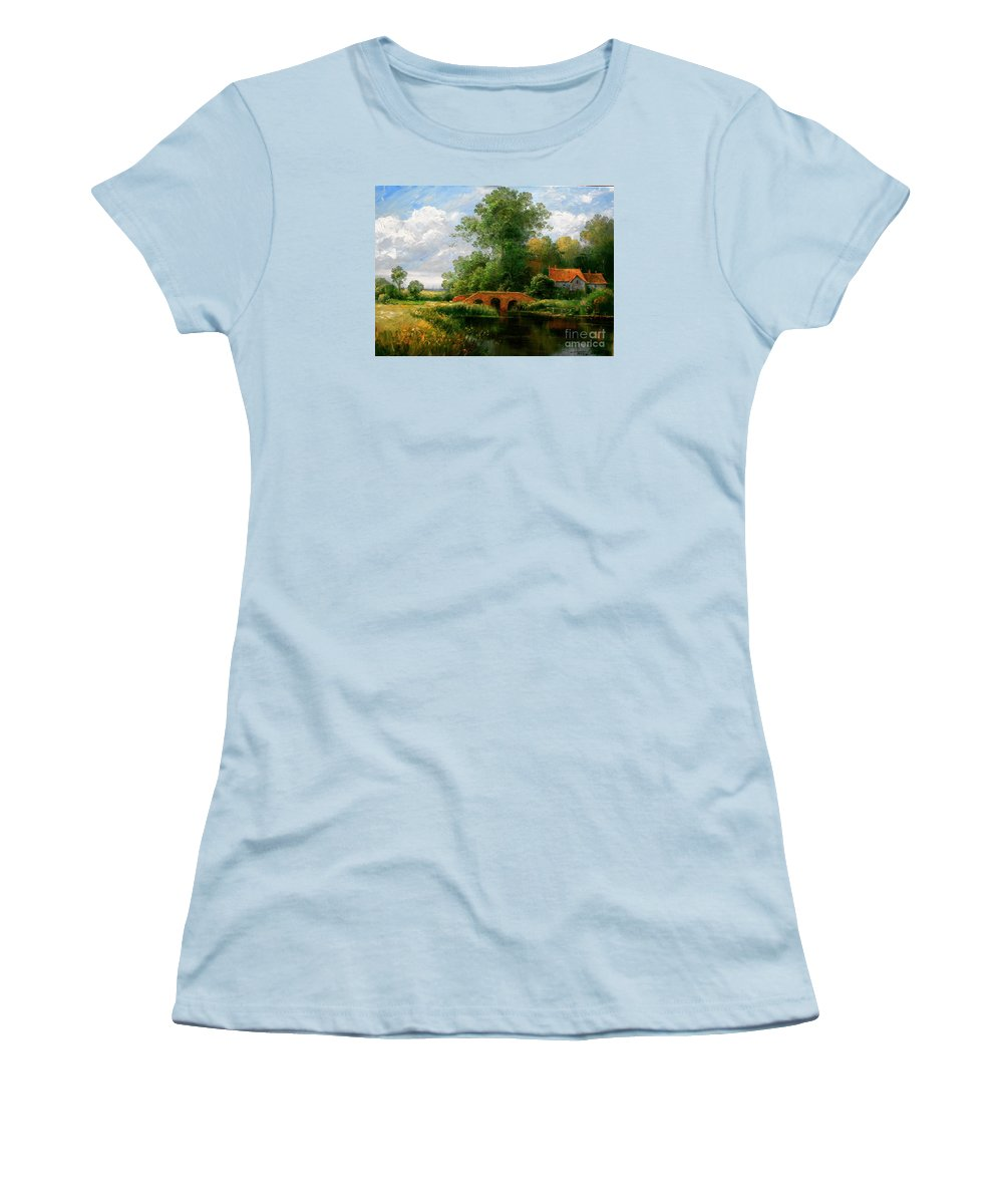 Landscape Women's T-Shirt (Athletic Fit) featuring the painting Landscape by Arthur Braginsky