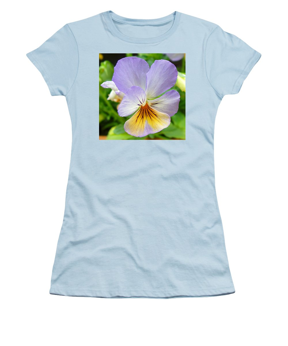 Pansy Women's T-Shirt (Athletic Fit) featuring the photograph Lavender Pansy by Nancy Mueller