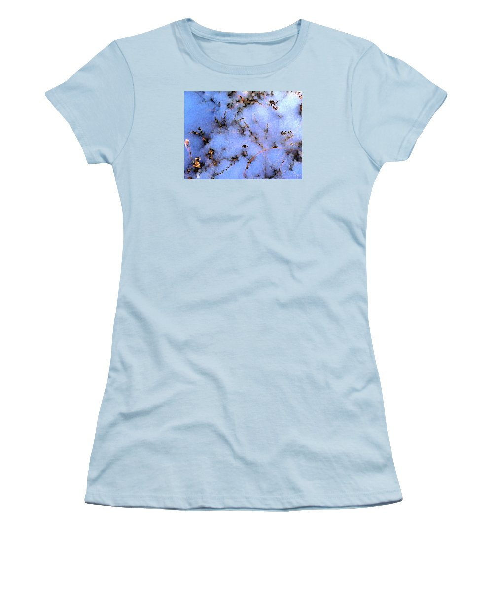 Abstract Women's T-Shirt (Athletic Fit) featuring the digital art Light Snow In The Woods by Dave Martsolf