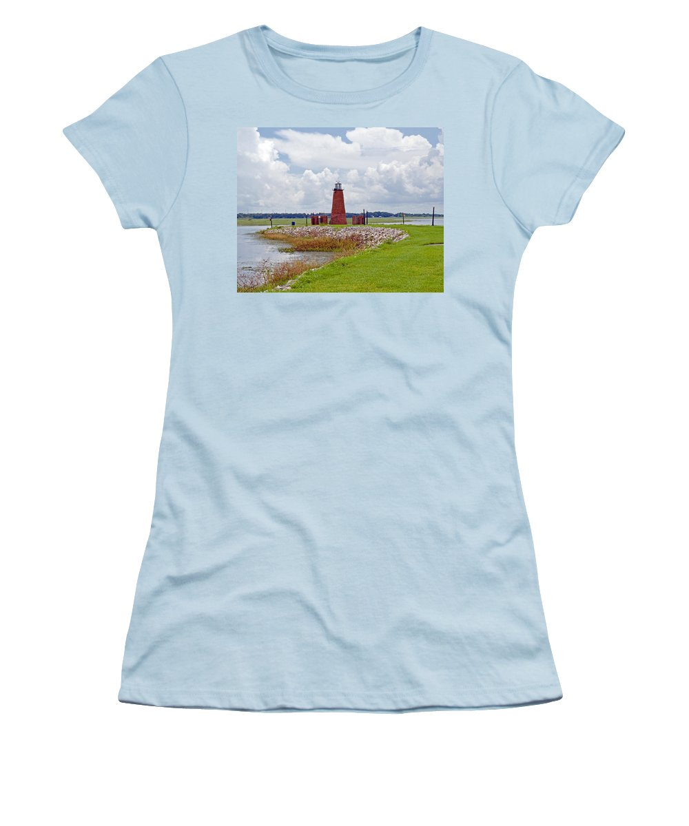 Florida; Kissimmee; Toho; Tohopekaliga; Port; Light; Lighthouse; House; Beacon; Brick; Central; Harb Women's T-Shirt (Athletic Fit) featuring the photograph Lighthouse At Port Kissimmee On Lake Tohopekaliga In Central Florida  by Allan Hughes