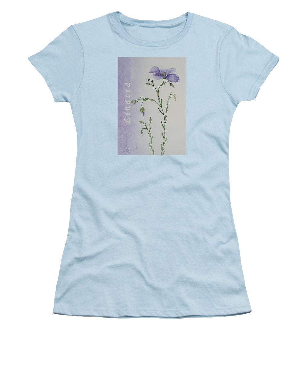 Flower Women's T-Shirt (Athletic Fit) featuring the painting Linacea by Ruth Kamenev