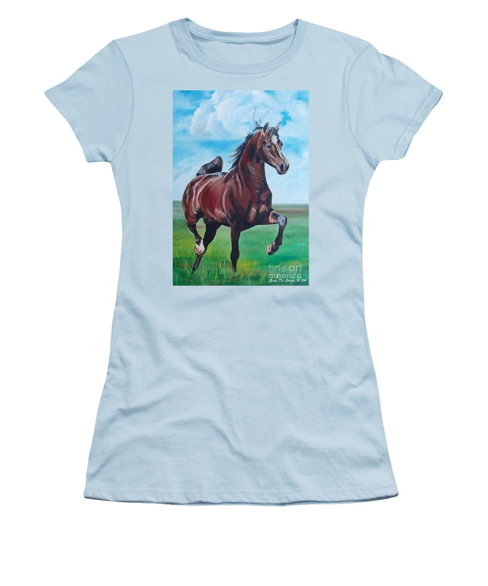 Horse Women's T-Shirt (Athletic Fit) featuring the painting Lovely by Gina De Gorna