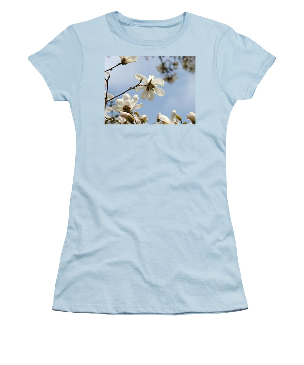 Magnolia Women's T-Shirt (Athletic Fit) featuring the photograph Magnolia Flowers White Magnolia Tree Art 2 Blue Sky Giclee Prints Baslee Troutman by Baslee Troutman