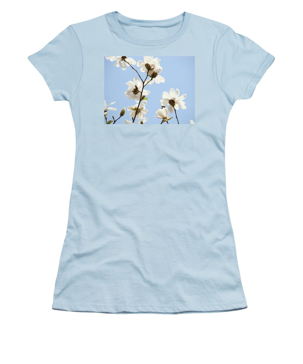Magnolia Women's T-Shirt (Athletic Fit) featuring the photograph Magnolia Flowers White Magnolia Tree Flowers Art Spring Baslee Troutman by Baslee Troutman